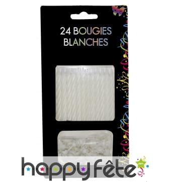 24 Bougies anniversaire avec bobeche blanches