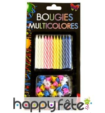 24 Bougies anniversaire avec bobeche multicolores