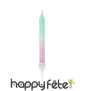 20 Bougies d'anniversaire coloris sirène, 6cm