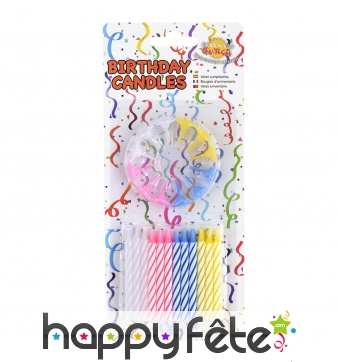 24 bougies d'anniversaire avec 12 bobèches
