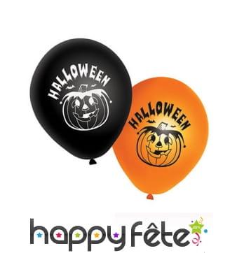 20 Ballons Halloween imprimé citrouille