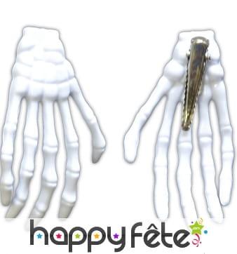 2 barettes mains de squelette