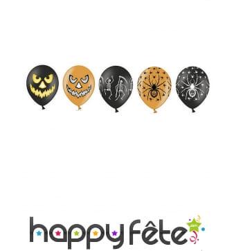 20 Ballons motifs Halloween oranges et noirs