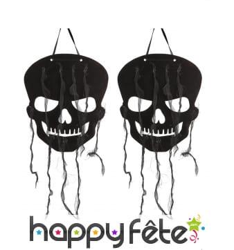 2 crânes noirs décoratifs de 29cm