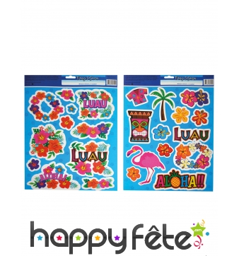2 feuilles de stickers hawaïens