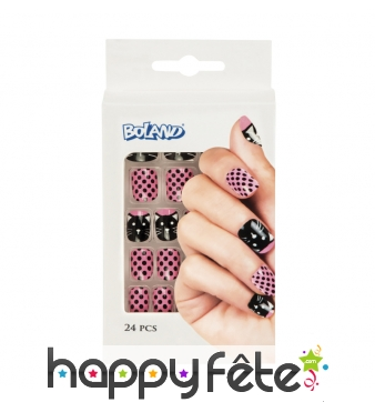 24 faux ongles motif chat, rose noir