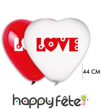 2 grands ballons coeur love blanc-rouge, 44cm