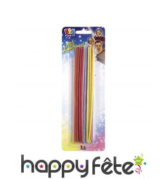 20 grande bougies colorées de 16 cm