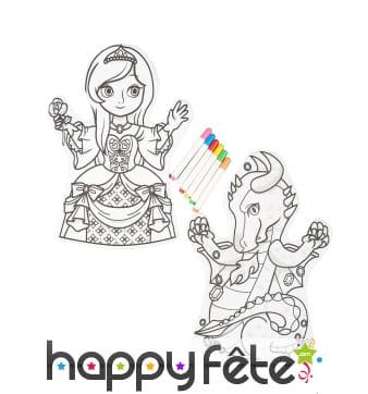 2 Marionnettes à colorier avec feutres
