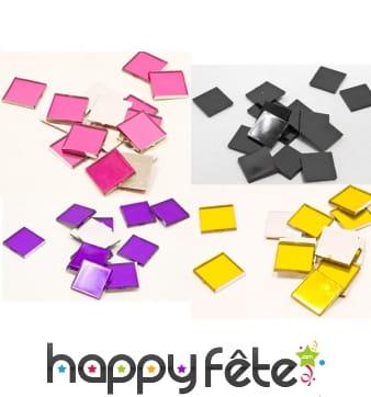 20 mini miroirs carrés colorés