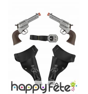 2 pistolets enfant avec holster et ceinture