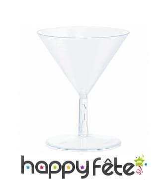 20 petits verres Martini en plastique transparent