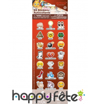 24 Stickers autocollants émoticones