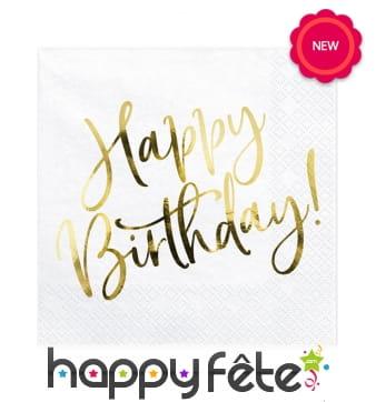 20 Serviettes blanches imprimé Happy Birthday doré