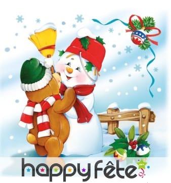 20 Serviettes de Noël décorées, en papier
