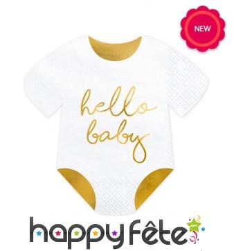 20 Serviettes en forme de body pour bébé
