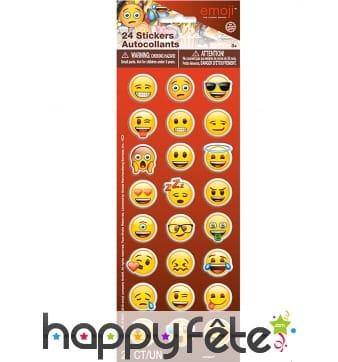 24 Stickers Emoji autocollants