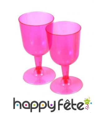 20 verres à vin pied court en plastique rose
