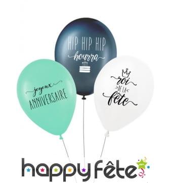 """3 Ballons """"Anniversaire"""" biodégradable de 27cm"""