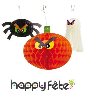 3 boules alvéolées Halloween à suspendre