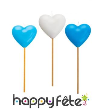 3 Bougies en forme de coeur bleu et blanc de 20 cm