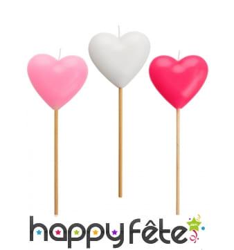 3 Bougies en forme de coeur rose et blanc de 20 cm