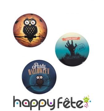 3 Badges Halloween vintage de 6cm