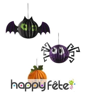 3 décorations Halloween en papier à suspendre