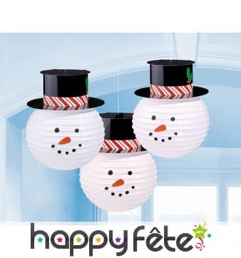 3 Lanternes tête de bonhomme de neige