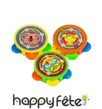 3 mini tambours multicolores