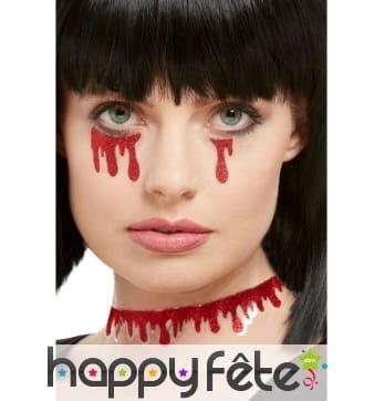 3 Stickers goutes de sang pailletté