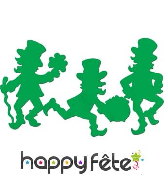 3 silhouettes vertes en carton de leprechaun 40cm