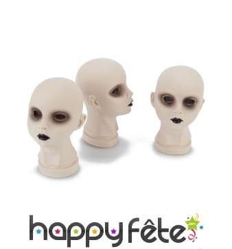 3 Têtes de poupées de cadavre décoratives