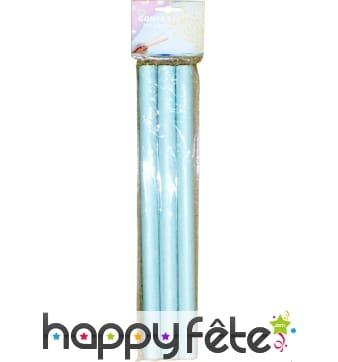 3 tubes de confettis rectangles bleues ciel