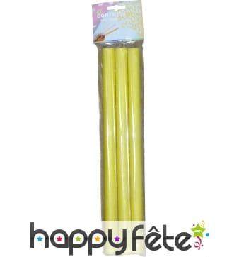 3 tubes de confettis rectangles jaunes