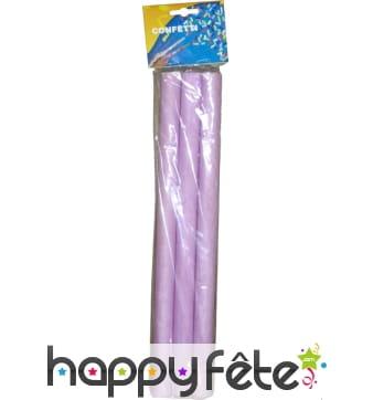 3 tubes de confettis rectangles lilas