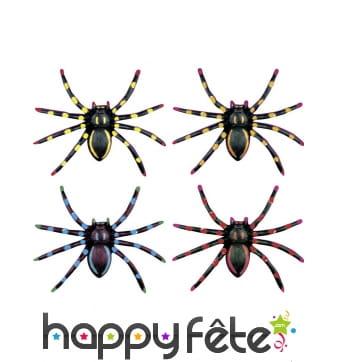 4 Araignées noirées et colorées de 7,5 cm