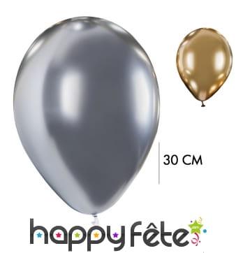 4 Ballons brillants argentés ou dorés, 30cm