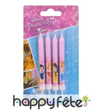4 Bougies d'anniversaire roses princesses Disney