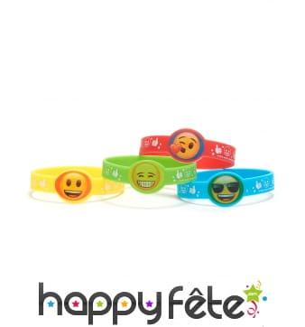 4 Bracelets en caoutchouc émoticones