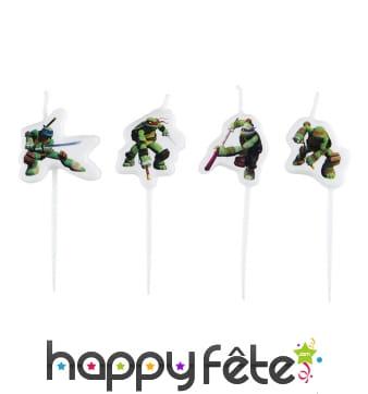 4 bougies Tortues Ninja sur bâton