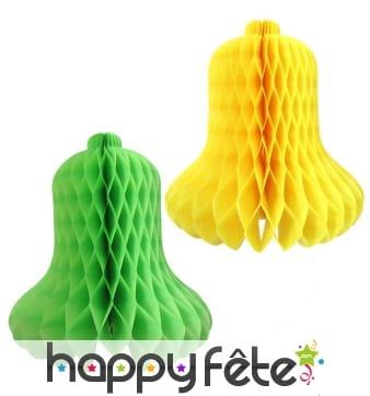 4 cloches en papier alvéolé jaune et anis