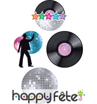 4 décors disco en carton