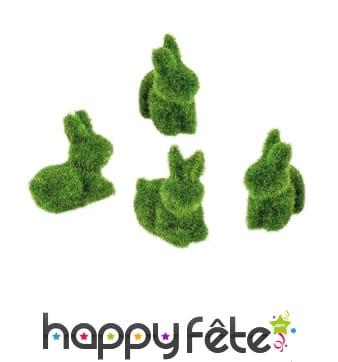 4 lapins verts en aspect mousse, 3,5x4cm