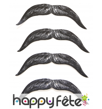 4 Moustaches en carton sur élastique pour enfant