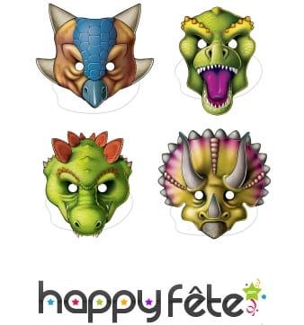 4 Masques plats de dinosaures
