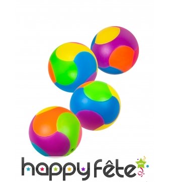 4 petites balles multicolores