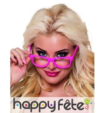 4 paires de lunettes rose fluo type intello