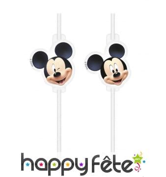 4 Pailles Mickey avec médaillon