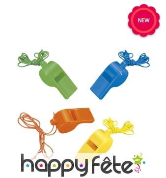 4 sifflets jouets multicolores